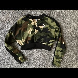 Puma Camouflage quarter-zip crop top